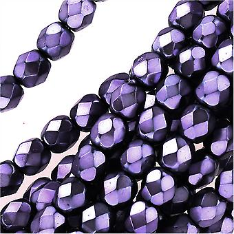 Tšekkiläinen tuli kiillotettu lasihelmet 4mm pyöreä full pearlized - lila jet (50)