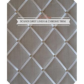 FengChun Hinweis Boards/Memo Boards/X-Large 48x60cm Scandi grau Leinen mit Criss Cross Bänder Chrom