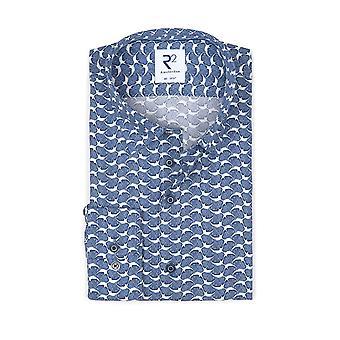 R2 Hidden Button Down Collar Long Sleeved Shirt Blue Patterned