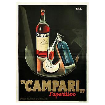 Poster Vintage Pubblicitario Campari - Stampa su Tela, Decorazione Parete
