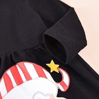 Toddler Baby Girl juletøj Santa Claus Kjole Toppe + Stribe Bukser + Tørklæde 3pc Fall Winter Outfit Set