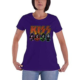 KISS T Shirt Band Logo Faces and Icons new Official Womens Skinny Fit Purple