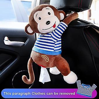 Cute Cartoon Car Tissue Box Holder For Car Armrest Box Car Seat Tissue Box(01 Brown Monkey)