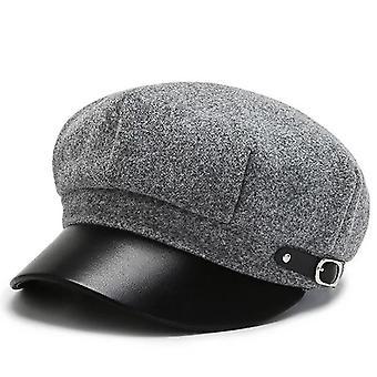 Talvisyksyn muoti Boinas Barettilakki, Villaiset kahdeksankulmaiset hatut (vaaleanharmaa)