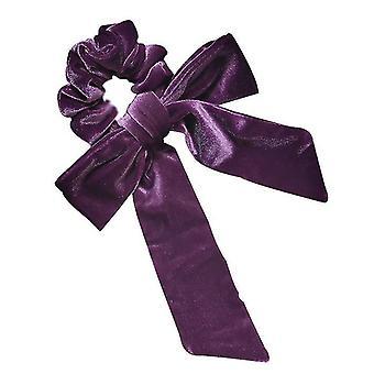 Velvet Head Rope Streamer Bow Knot Hair Loop High Elastic Tie Hair(Purple)