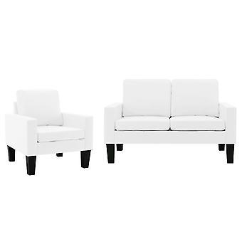 vidaXL 2 pcs. Sofa set white imitation leather