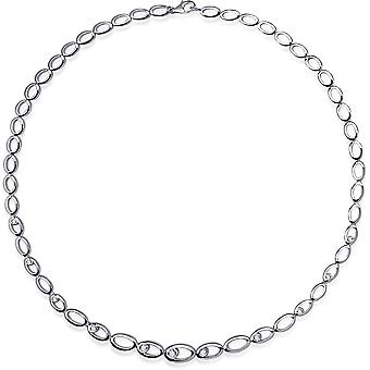 Gisser Jewels - Collar - Gargantilla Oval Fantasy Switch conjunto con Zirconia - 8mm De ancho - Longitud 42cm - Gerhodineerd Zilver 925
