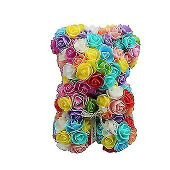 Valentine's day gift 25 cm rose bear birthday gift£? memory day gift teddy bear(Colorful 1#)