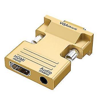 hdmi til vga-kabel med lydudgang, hdmi-konverter (guld)
