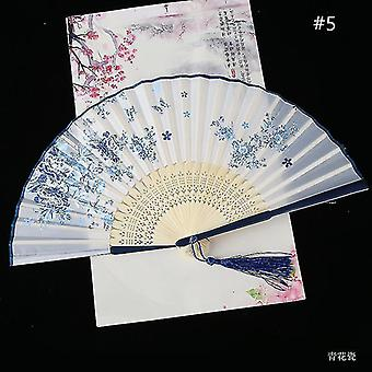 Chinese Vintage Style Folding Fan Art Craft Gift Dance Hand Fan Home Decoration Ornaments(#5)
