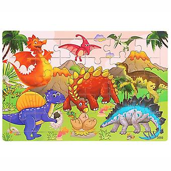 30 Pieces wooden toy jigsaw puzzle wood cartoon animal vehicle kid early learning baby educational toys for children puzzles