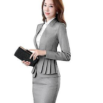 Woman Full Sleeve Ruffle Pleated Blazers Suit Skirt Jacket