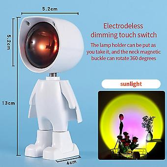 Usb 360sunset Projector Lamp Robot Led Projector Night Lights  Rainbow Sunset Red Selfie Light Bedroom Atmosphere Table Lamp
