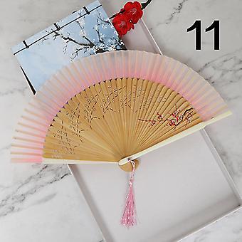 Nachtmarktstand Chinesische alte Seide Handbemalte klassische mehrfarbige Falten tragbare Ventilator