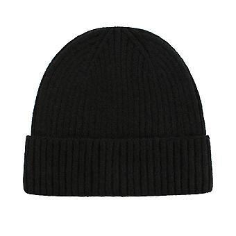 Säkringshatt i massiv färg med flänsande ullgarnkupol stickad hatt