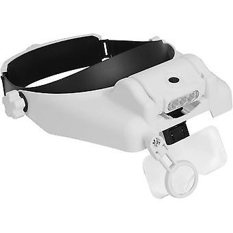 Head-mounted Magnifier 3 Led Lights 1x,1.5x,2x,2.5x,3.5x,8x Loupe Lens