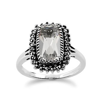 Sterling sølv 2,00 ct bjergkrystal & Marcasite klynge Ring