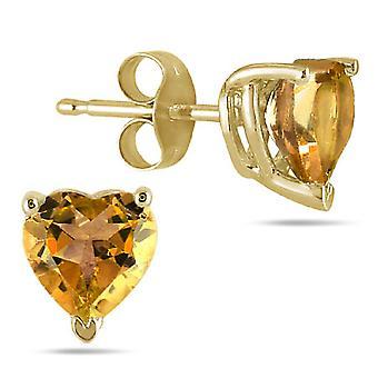 Genuine 6mm Heart-Shaped Citrine Stud Earrings, 14K Yellow Gold