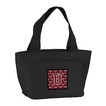 Carolines trésors CJ1078-UBK-8808 lettre U Football grenat et or Lunch Bag