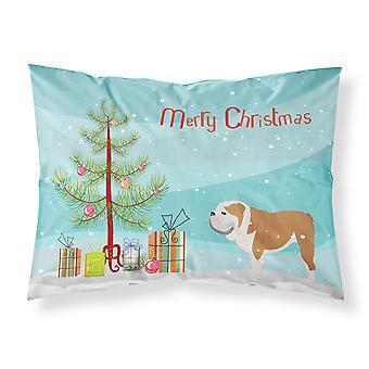 English Bulldog Merry Christmas Tree Fabric Standard Pillowcase