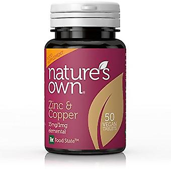 Natures Own Food State Zinc and Copper 15mg/1mg Elemental, 50 tablets