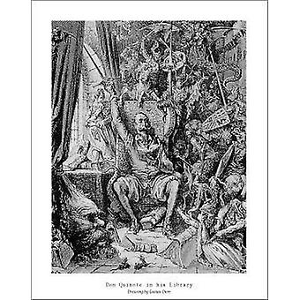 Don Quixote in His Library - Gustav Dore Poster Poster Print