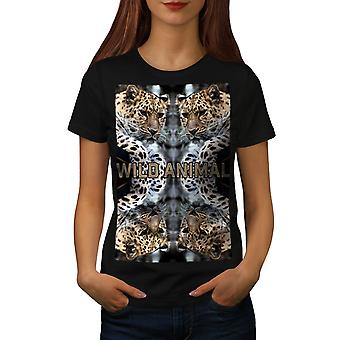 野生のヒョウ猫女性 BlackT シャツ |Wellcoda