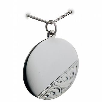 Silver 26mm round hand engraved Disc with a curb Chain 24 inches