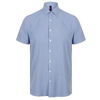 Henbury Mens karierte Kurzarm Shirt