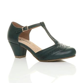 Ajvani naisten puolivälissä pieni lohko kantapää t-bar reikäkoristeinen kävelykenkä comfort kumi ainoa tuomioistuin kengät sandaalit