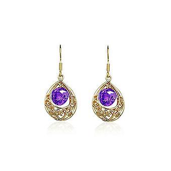 Womens guld och lila ihåliga Teardrop örhängen BG1664