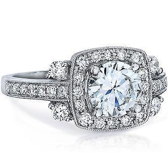 1 5 / 8ct HRD zertifiziert E VVS-SI1 Vintage Antik Halo Diamant-Verlobungsring 18K