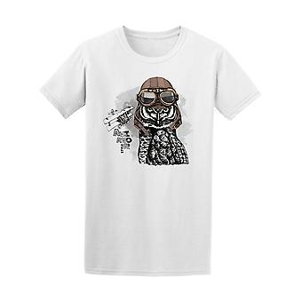 Owl With Leather Helmet Aviator Tee Men's -Image by Shutterstock