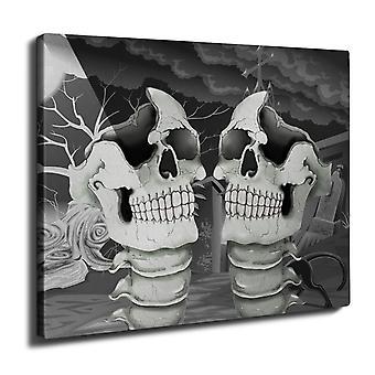 Rock Skull Bone Wall Art Canvas 40cm x 30cm | Wellcoda