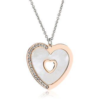 Orphelia Silver 925 ketting met Rose hart hanger - moeder van parels 45 Cm ZK-2775
