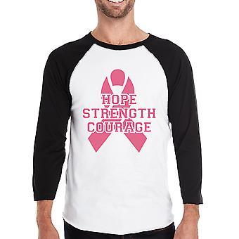 قوة الأمل الشجاعة رجالي أكتوبر سرطان الوعي البيسبول التي شيرت