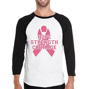 Hope Strength Courage Mens October Cancer Awareness Baseball Tshirt