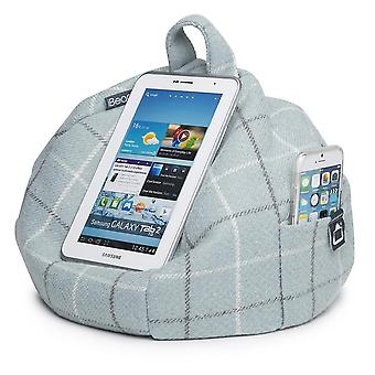 Ipad, tablet & ereader bean bag stand by ibeani - duck-egg check