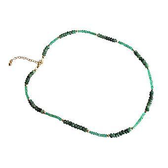 Gemshine - Panie - naszyjnik - gold plated - płaszczyznowe szmaragdowo - zielony--45 cm