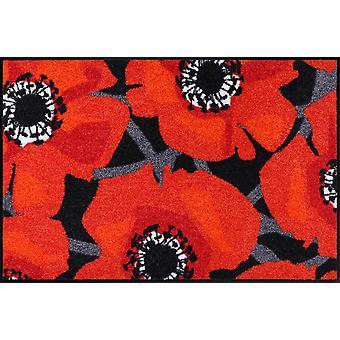 Salón León felpudo flor amapola negro brillantes amapolas rojas