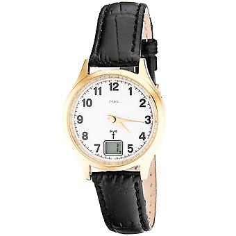 Women's wristwatch radio radio watch stainless steel gold plated leather date ladies watch