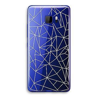 HTC U Ultra transparant Case (Soft) - geometrische lijnen wit