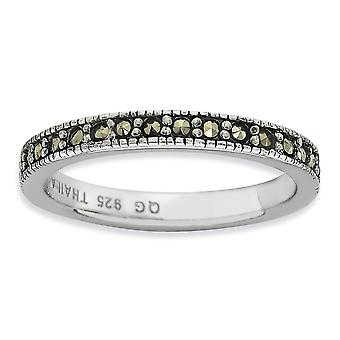 3mm 925 Sterling Silver Polished Stackable Expressões Marcasite Band Ring Jewely Giftsy for Women - Ring Size: 5 a 10