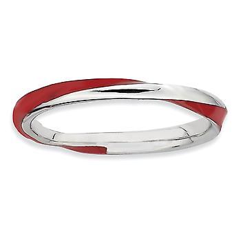 925 sterlinghopea kiillotettu rhodium päällystetty kierretty punainen emaloitu 2,5 x 2,25 mm pinottava rengas korut lahjat naisille - R