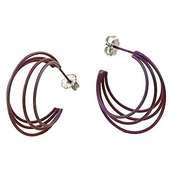 Ti2 Titanium Large Wire Hoop Earrings - Coffee Brown