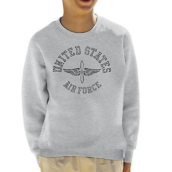 US Airforce Winged Propeller Black Text Kid's Sweatshirt