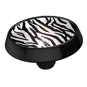 Mikro-ihon ankkuri Top litteä levy musta, Body korut, Zebra