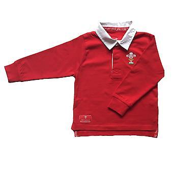 Wales WRU Rugby Kids Long Sleeved Rugby Shirt | Red
