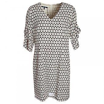 Marie Mero Flared Ruffle Sleeve Printed Swing Dress