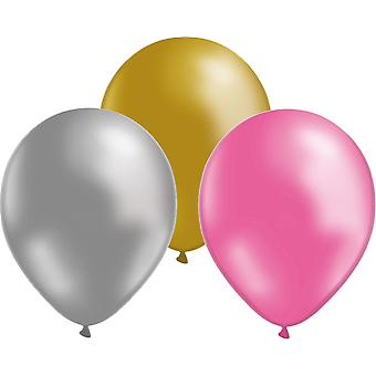 Balloons 24-Pack gold/silver/Pink
